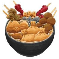 oden japanese food in flat design style vector