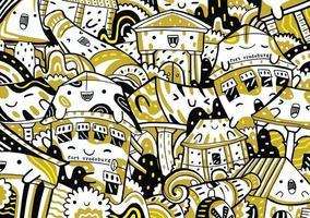 fort vredeburg doodle in flat design style vector