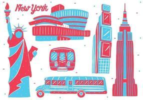 new york landmark in flat design style vector