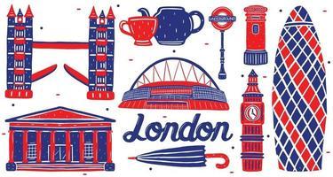 london landmark in flat design style vector