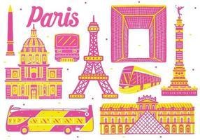 paris landmark in flat design style vector