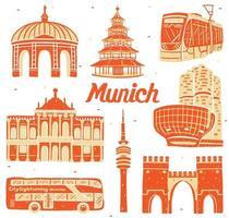 munich landmark in flat design style vector