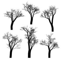 Set of black naked trees silhouette set. Hand drawn isolated. vector