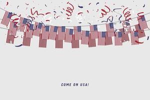 Bandera de guirnalda de Estados Unidos con confeti sobre fondo gris. vector