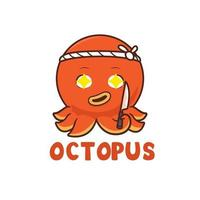 Octopus sushi master illustration, mascot logo design vector