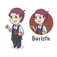 Cute barista character, mascot logo design vector