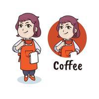 Woman barista character, coffee mascot logo design vector
