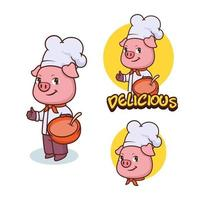 mascota de chef de cerdo, diseño de concepto de logotipo vector