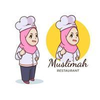 Muslim girl Chef with Hijab mascot logo vector