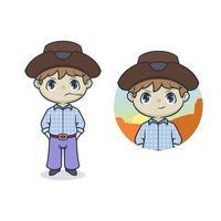 Cute cowboy mascot cartoon illustration vector