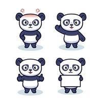 Set of cute panda character design vector