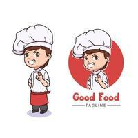 Cute chef mascot logo design vector