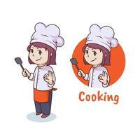 Cute woman chef, mascot logo design vector