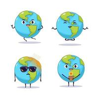 Kawaii cute earth illustration design vector