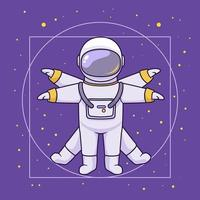 Vitruvian illustration, astronaut space concept vector