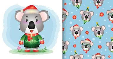 a cute koala christmas characters collection. seamless pattern vector