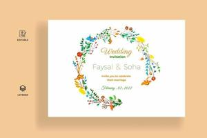 Watercolor wedding invitation card template vector