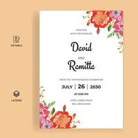 Beautiful watercolor wedding invitation card template vector