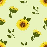 Seamless pattern of sunflowers, summer blossom. vector