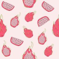 Seamless pattern of dragon fruit on pink background. Flat illustration vector