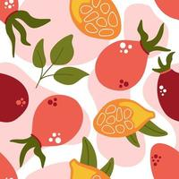 Seamless pattern of rose berry with leaves, rose hip berries. vector