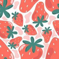 Cute seamless pattern of sweet strawberry. Nursery design. vector