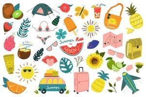 Big summer set of sun bag fruits bus bag vector