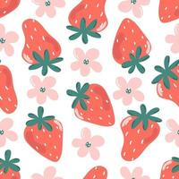 Cute seamless pattern of strawberry and flowers. vector