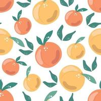 Seamless pattern of peaches with leaves. Modern illustration vector