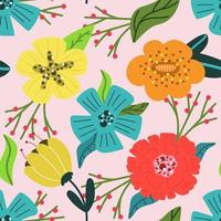 Seamless pattern of bright and modern flowers on pink background. vector