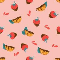 Seamless pattern of orange slice and strawberry in chocolate vector