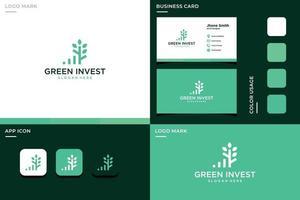 leaf logo with investment bar. Premium Vectors. vector