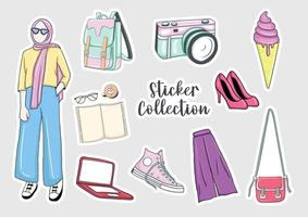 Colorful Hand drawn hijab girl stickers collection vector
