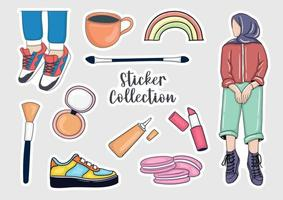 Colorful Hand drawn stickers collection vector