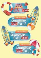 oferta especial venta de verano cincuenta por ciento de descuento vector