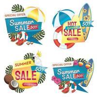 promoción de venta de verano cincuenta por ciento de descuento vector
