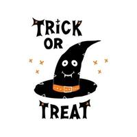 Witch hat with cute face, Trick or treat lettering and doodle crosses vector