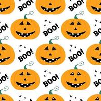Cute smiling pumpkin with boo lettering and cross. Seamless pattern vector