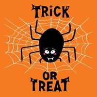 Cute black spider with guilty look, white cobweb and trick or treat vector