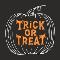 Trick or treat Orange lettering in pumpkin sketch on dark background vector