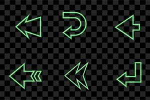 Set of Green arrow light neon effect isolated eps vector sign