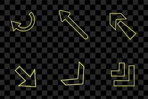 Set of Yellow arrow light neon effect collection isolated vector sign