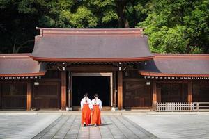Scenic view at  Meji Jingu or Meji Shrine area in Tokyo, Japan. photo