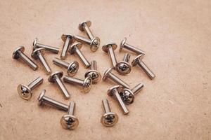 Los tornillos se colocan en el piso de madera. foto