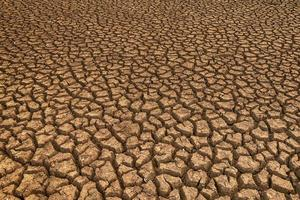 The land with dry ground and grass covered global warming photo