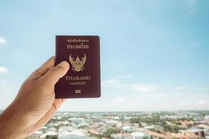 Passport in Thailand, isolated on the sky background photo