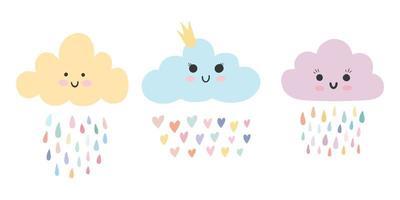 Set of three cute baby cloud with rainbow rain drops and hearts vector