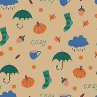 Cute autumn seamless pattern with hand drawn autumn cozy clip art vector