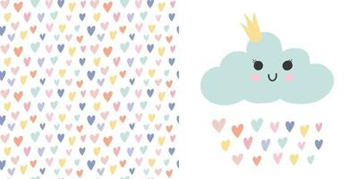 Kid nursery set - vector baby cloud, seamless pattern rainbow hearts.