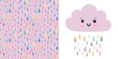 Kid nursery set - vector baby cloud, seamless pattern with raindrops